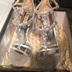 Badgley Mischka formal silver wedge heels